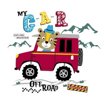 Tigre alla guida di un fuoristrada divertente cartone animato animale Vettore Premium