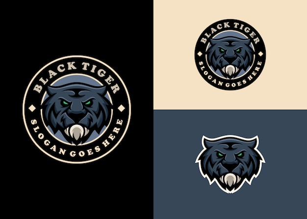 Tiger emblem mascot carattere moderno logo design