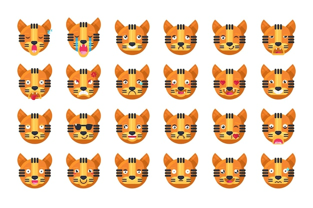 Vettore stabilito della raccolta dell'umore differente di emoji della tigre. fantastico animale gatto della giungla che sorride e ride con i denti e gli occhi carini, tristi e arrabbiati, dormono e si baciano. emoticon comico piatto fumetto illustrazione