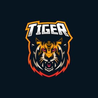 Modello di logo della mascotte di gioco tiger esport