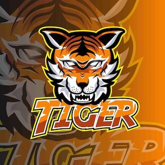 Modello di logo di gioco dell'emblema di esport della tigre