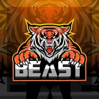 Disegno del logo della mascotte esport della faccia di tigre