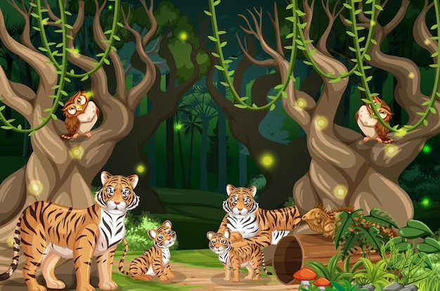 Famiglia di tigri sullo sfondo del paesaggio della foresta