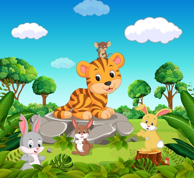Tigre nella foresta
