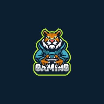 Mascotte del logo di gioco della tigre