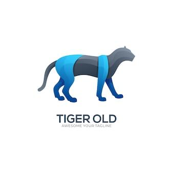 Modello di logo di colore moderno sfumato di tigre