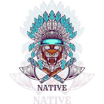 Testa di tigre nativo indiano