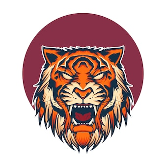 Illustrazione della mascotte logo testa di tigre