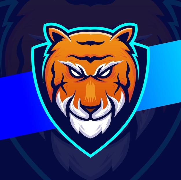 Design del personaggio esport della mascotte della testa di tigre per lo sport del gioco e il design del logo animale