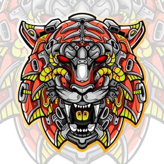 Design del logo esport della mascotte della testa della tigre