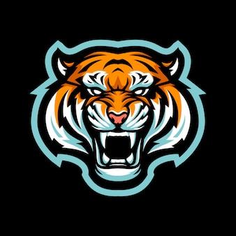 Illustrazione della mascotte di tiger head per il logo di sport e sport isolato su priorità bassa nera