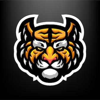 Illustrazione della mascotte di tiger head per sport e logo esports isolato su sfondo grigio scuro