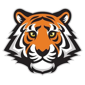 Mascotte della testa della tigre isolata su bianco
