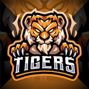 Disegno del logo mascotte testa di tigre