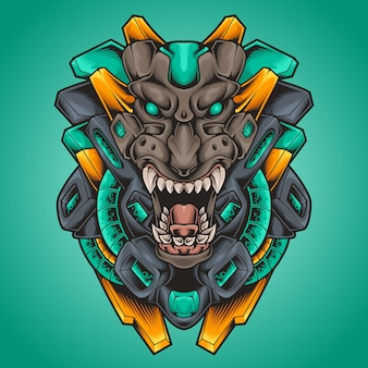Illustrazione di cyberpunk robot mostro testa di tigre
