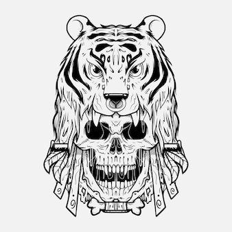 Tiger head on skull illustrattion inchiostrazione