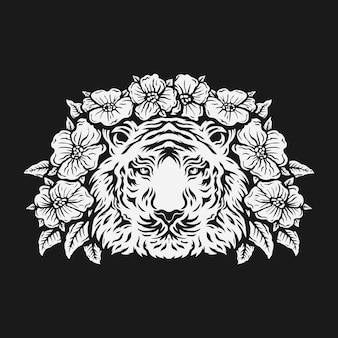 Testa di tigre circondata da fiori di rosa. bianco e nero.