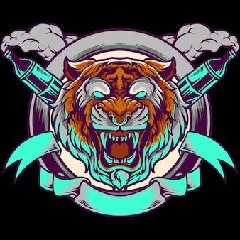 Illustrazione della mascotte di vape della testa della tigre