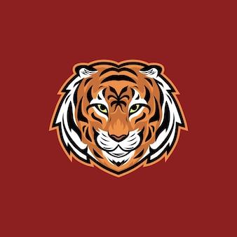Logo della mascotte dell'esportazione dell'illustrazione di vettore della testa della tigre