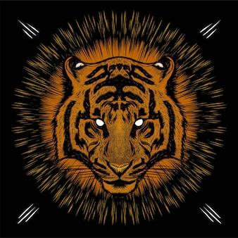 Testa di tigre con sfondo chiaro occhio