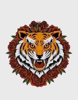 Testa di tigre con illustrazione di fiori di rosa