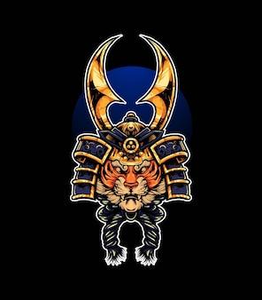 Testa di tigre con illustrazione vettoriale di casco da samurai, moderno stile cartoonesco adatto per t-shirt o prodotti di stampa