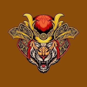 Testa di tigre con illustrazione vettoriale elmo samurai adatto per prodotti di stampa o t-shirt