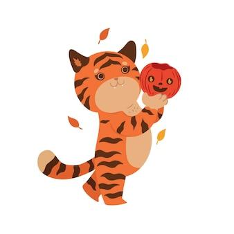 Tiger tenendo la zucca di halloween isolare su uno sfondo bianco. grafica vettoriale.