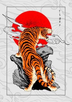 Sfondo tatuaggio stile tigre giappone Vettore Premium