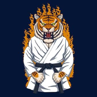 Illustrazione vettoriale di karate tigre Vettore Premium