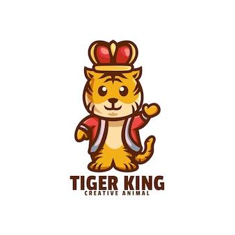 Logo della mascotte del re tigre in stile cartone animato