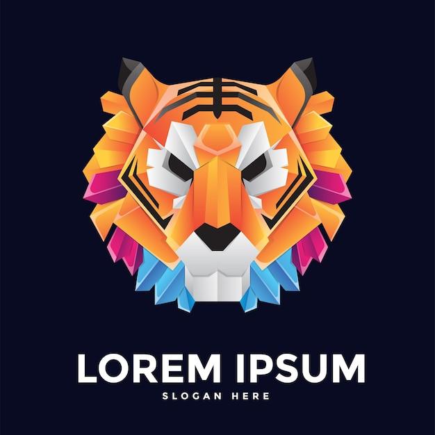 Modello di logo della tigre in design piatto