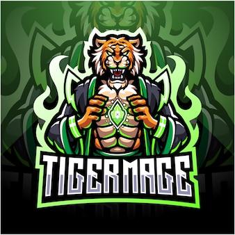 Tiger mage logo design mascotte esport