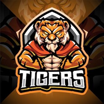 Logo della mascotte esport uomo tigre