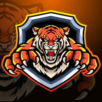 Tiger mascotte esport logo design
