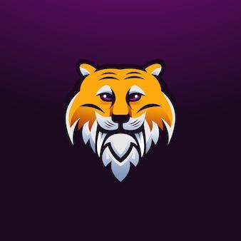 Vettore di progettazione di logo della mascotte della tigre con stile moderno di concetto dell'illustrazione per il distintivo, l'emblema, la stampa della maglietta e qualsiasi progettazione