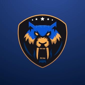 Design del logo della mascotte della tigre con il moderno team esport