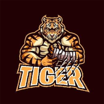 Logo della mascotte della tigre per esport e sport