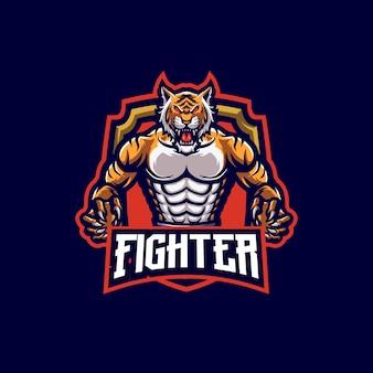 Modello logo mascotte tigre