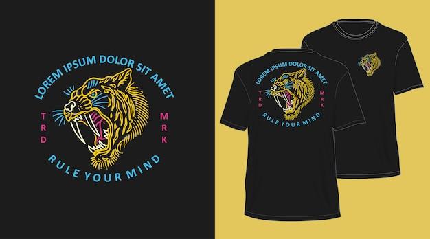 T-shirt disegnata a mano tigre monoline design