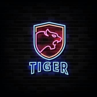 Modello di logo al neon di tigre.