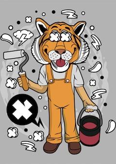 Tiger painter illustrazione