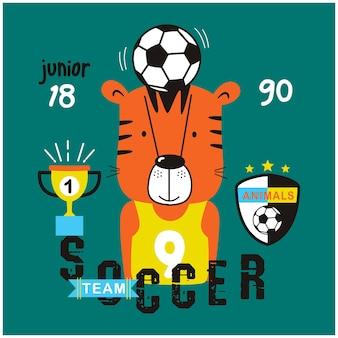 Tigre il giocatore di calcio divertente cartone animato animale