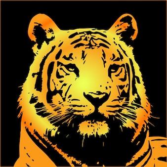 Ritratto di tigre isolato su sfondo nero, vettoriale