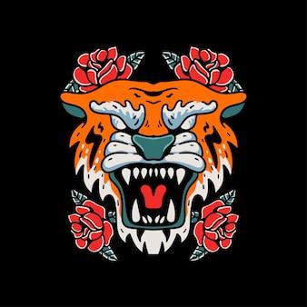 Illustrazione dell'annata di stile del tatuaggio della tigre e della rosa