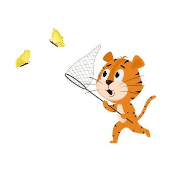 La tigre corre con una rete, cattura le farfalle. simpatico personaggio dei cartoni animati.