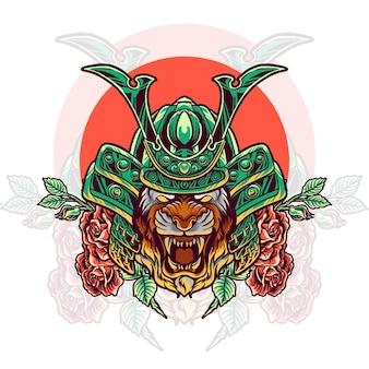 Testa di samurai tigre con rose