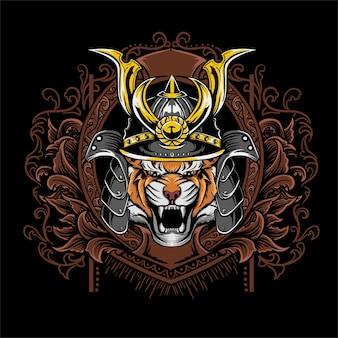 Illustrazione della maschera del samurai della tigre