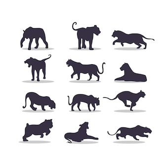 Disegno dell'illustrazione di vettore della siluetta della tigre