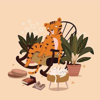 La tigre si siede con un gatto